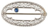 14K Synthetic Sapphire Art Deco Brooch