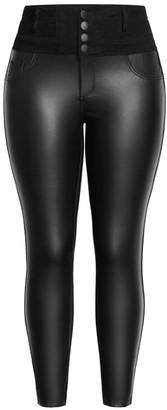 City Chic Skylar Splice Panel Jean - black