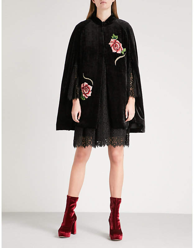 Anna Sui Rose-embroidered velvet cape