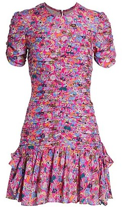 Tanya Taylor Carti Short-Sleeve Printed Silk Dress