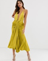 Asos Edition EDITION satin plunge strappy midi dress with tie front