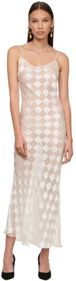 ROWEN ROSE Sheer Silk Midi Dress W/ Pearls