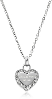 Michael Kors Heritage Stainless Heart Necklace w/Crystals