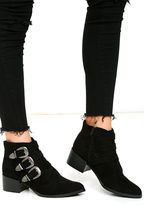 Qupid Belt Out Black Belted Suede Ankle Booties