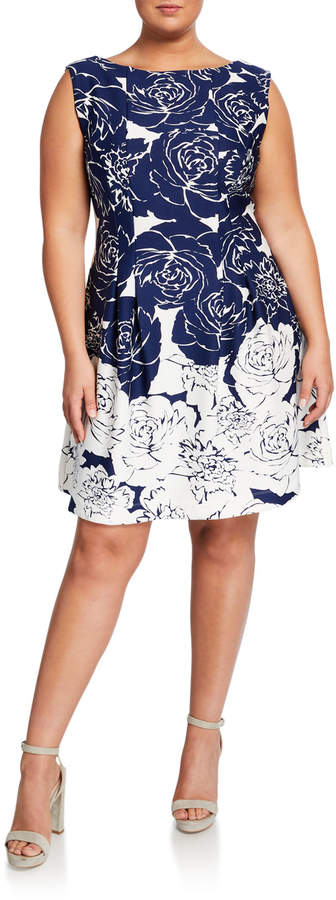Plus Size Rose-Print A-Line Dress