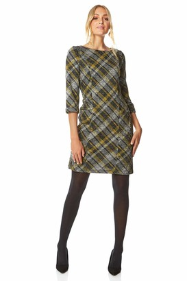 Roman Originals Women Check Shift Dress - Ladies Tartan Plaid Print Winter Smart Work Office Casual Formal Party Comfortable Tunic 3/4 Sleeve Knee Length Smock - Navy Blue - Size 20