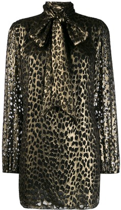 Saint Laurent Leopard-Print Shift Dress