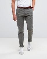 Scotch & Soda Chinos With Belt In Stretch Slim Fit In Khaki Grey
