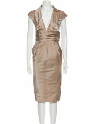 J. Mendel Silk Midi Length Dress Brown
