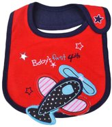 East Majik Red Airplane Eating Paint Clothing Bib for Toddler Baby