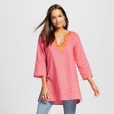 Women's Raindrop Printed Kurta Tunic with Embroidered Neck - Flora by RockFlowerPaper