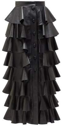 Saint Laurent Ruffled Leather Midi Skirt - Womens - Black