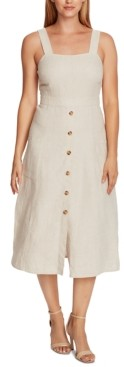 Vince Camuto Petite Linen Button-Front Dress