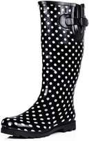 Spylovebuy Flat Festival Wellies Wellington Knee High Rain Boots Black US 9