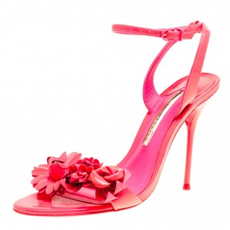 Sophia Webster Fluorescent Pink Patent Leather Lilico Floral Embellished Ankle Wrap Sandals Size 38