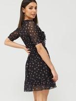 Very Mesh Ruffle Neck Wrap Tea Mini Dress - Black Floral
