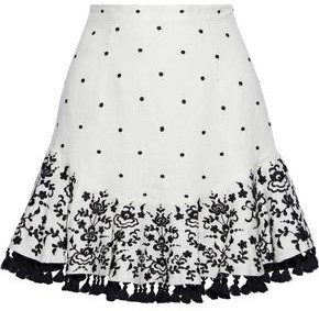 Zimmermann Tali Tasseled Embroidered Linen Mini Skirt