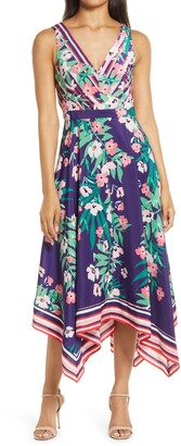 Vince Camuto Floral V-Neck Dress