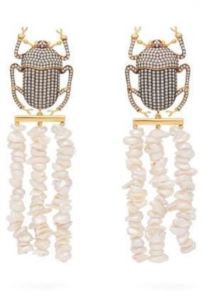 BEGÜM KHAN Pharoah Gold-plated & Pearl Clip Earrings - White