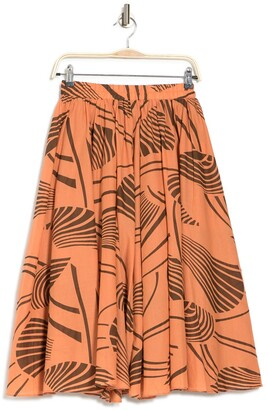 MelloDay Leaf Print Flowy A-Line Skirt