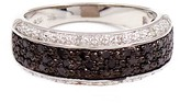 Savvy Cie Double Row Pave Black & White Diamond Band Ring - 0.25 ctw