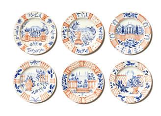 Laboratorio Paravicini Set Of 6 Italian Views Dinner Plate