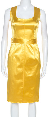 Dolce & Gabbana Yellow Stretch Satin Sleeveless Sheath Dress M
