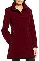 Gallery Quilted Zip Front Detachable Hood Jacket