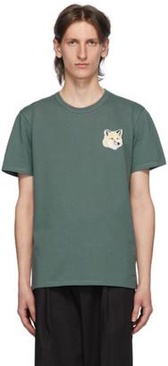 MAISON KITSUNÉ Green Pastel Fox Head Patch T-Shirt