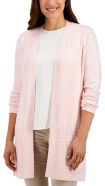 Karen Scott Open-Front Mixed-Stitch Cardigan, Created for Macy's