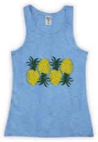 Urban Smalls Girls' Tank Tops Heather - Heather Bright Blue Pineapples Upside Down Racerback Tank - Toddler & Girls