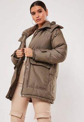Missguided Patch Pocket Hooded Padded Coat