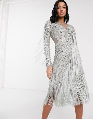 A Star Is Born embellished midi dress with asymmetric hem in silver