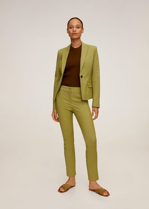 MANGO Structured suit blazer olive green - 2 - Women