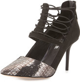 L.A.M.B. May Snake-Embossed Caged Pump, Black/Gunmetal