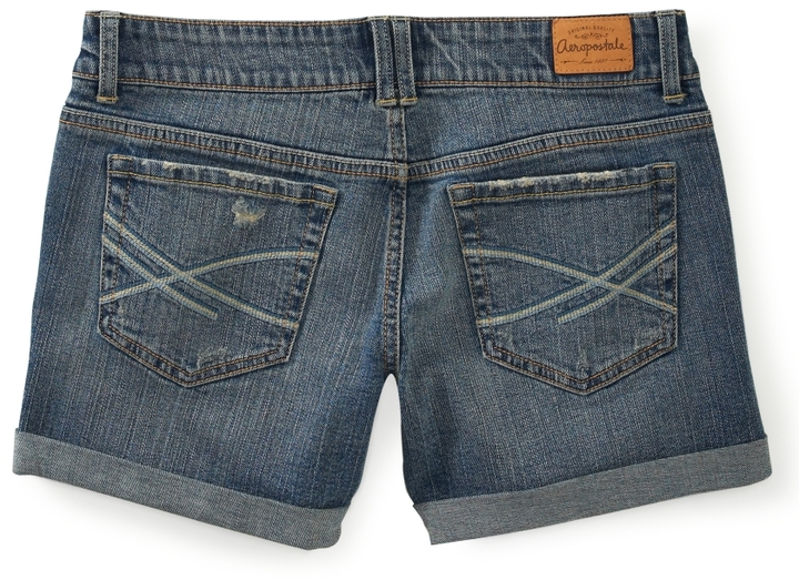 Aeropostale Destroyed Medium Wash Denim Boyfriend Shorts