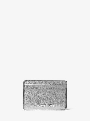 MICHAEL Michael Kors MK Metallic Pebbled Leather Card Case - Silver - Michael Kors
