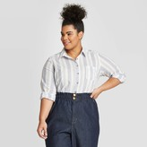 Universal Thread Women's Plus Size Striped Long Sleeve Relaxed Button-Down Shirt - Universal ThreadTM