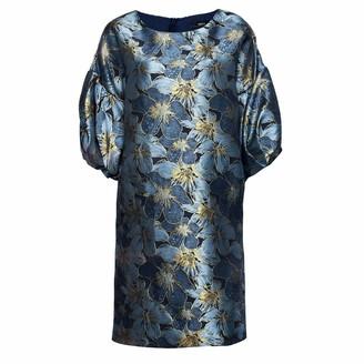 Nissa Brocade Dress With Puffed Sleeves