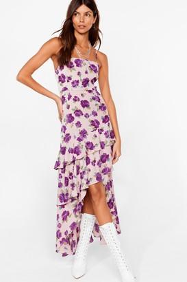 Nasty Gal Womens Waterfall-en For You Floral Halter Dress - Purple - 4, Purple