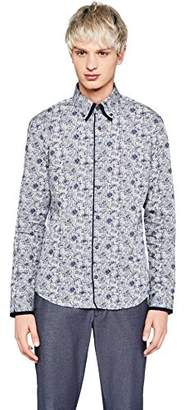"find. Slim Fit Floral Printed Dress Shirt, (Grey 103), (Size: 15.5"")"