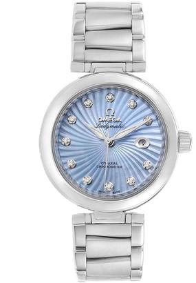 Omega Blue MOP Stainless Steel De Ville Ladymatic 425.30.34.20.57.002 Women's Wristwatch 34MM