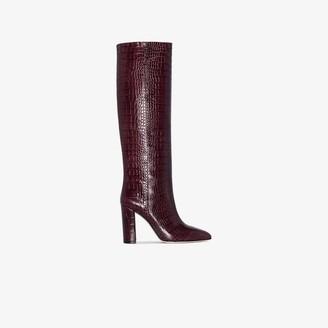Paris Texas Burgundy 100 mock croc leather boots