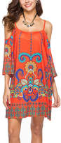 Chateau Amour Women's Casual Dresses orange - Red Floral Paisley Cutout Shift Dress - Women
