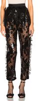 Rodarte Sequin Trousers with Side Seam Ruffle Detail