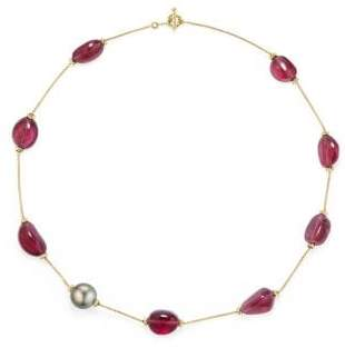 David Yurman Dy Signature Bead Necklace With Rubellite And Tahitian