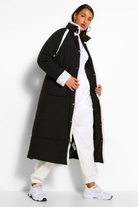 boohoo Tall Padded Contrast Faux Fur Trim Longline Coat