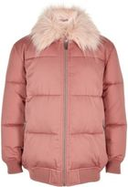 River Island Girls pink puffer coat with faux fur collar