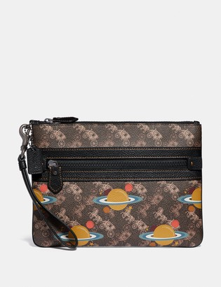 Coach Large Front Zip Wristlet With Horse And Carriage Print And Planet
