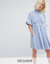 Lazy Oaf Oversized T-Shirt Dress With Frilly Hearts